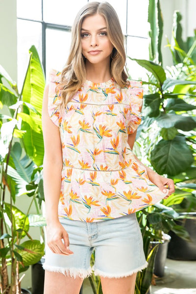 Pink and White Floral Print Flutter Top
