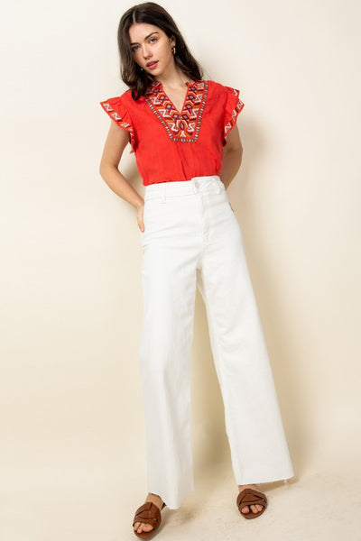 Red Embroidered Ruffle Sleeve Top