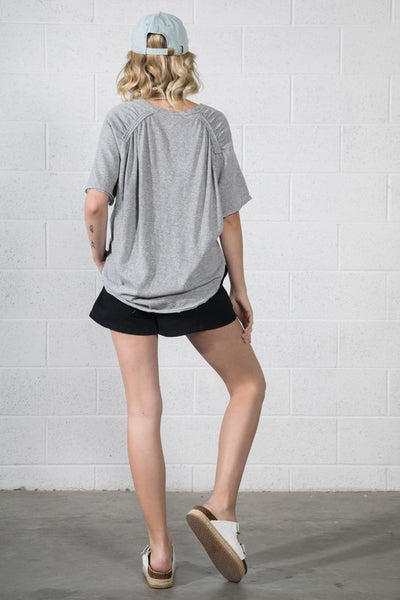 Heather Grey V-Neck Relaxed Top