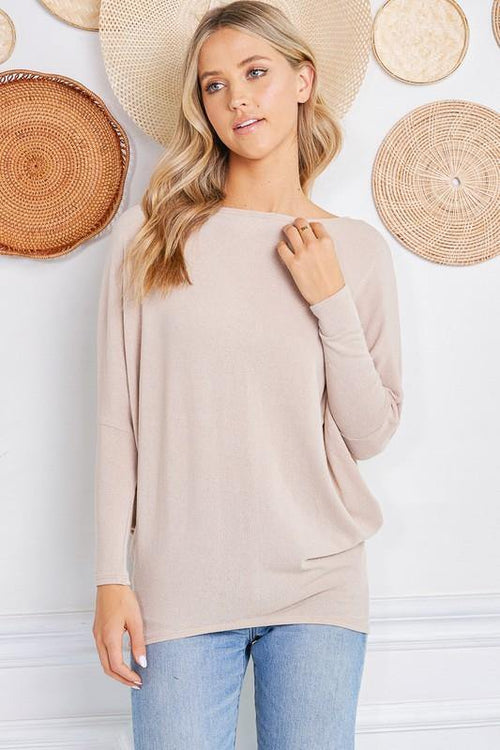 Athena Taupe Dolman Sleeve Sweater - THE WEARHOUSE