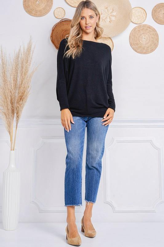 Athena Black Dolman Sleeve Sweater - THE WEARHOUSE