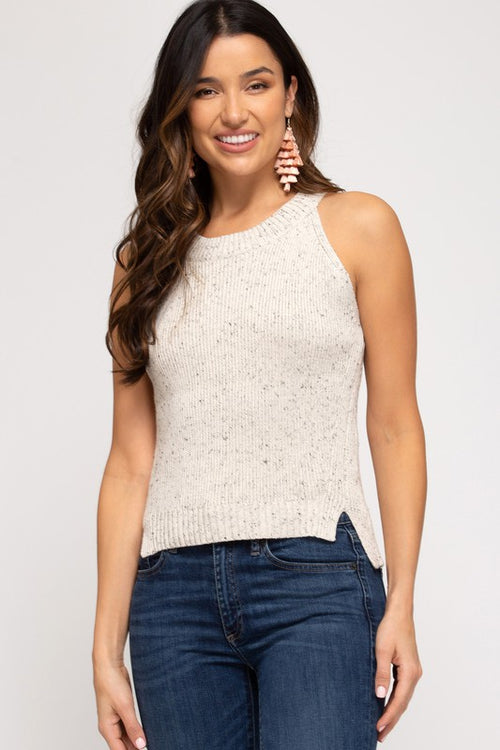 Oatmeal Colored Sleeveless Knit Sweater