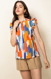 Multi Colored Print Flutter Sleeve Top