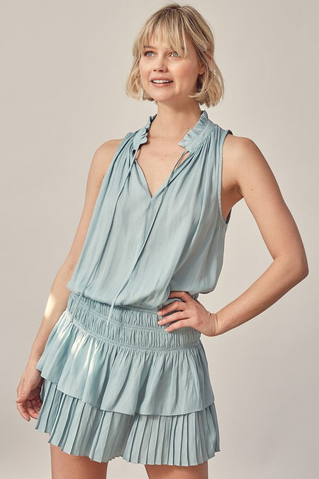 Off White Cross back Halter Dress with Shorts