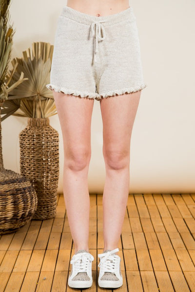 Oatmeal Colored Drawstring Ruffle Trim Shorts