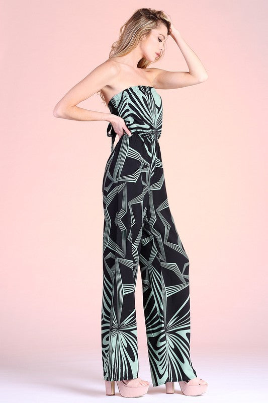 Green Retro Geo Print Strapless Jumpsuit