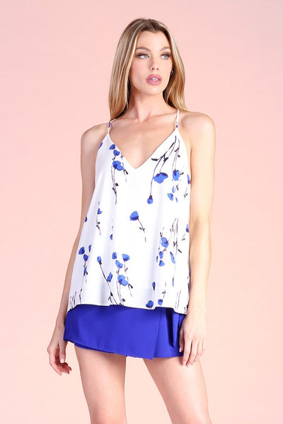 Blue Cornflower Print Cami Top