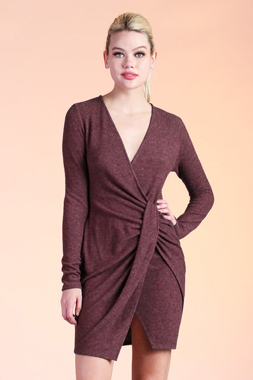 Burgundy Fitted Sweater Dress