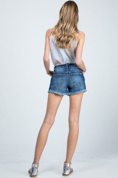 Diedra Dark Denim Mid Rise Frayed Shorts