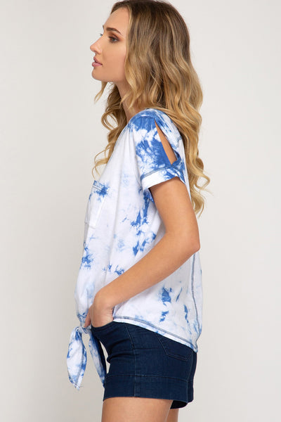 Blue Tie-Dye Half Sleeve Top With Front Tie