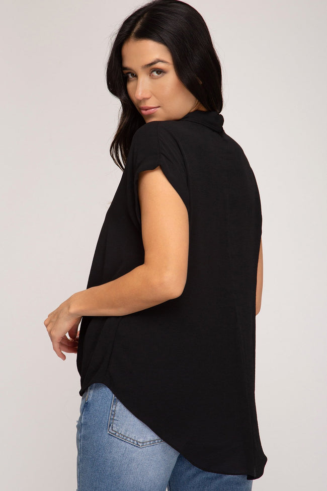 Black Front Twisted Woven Top