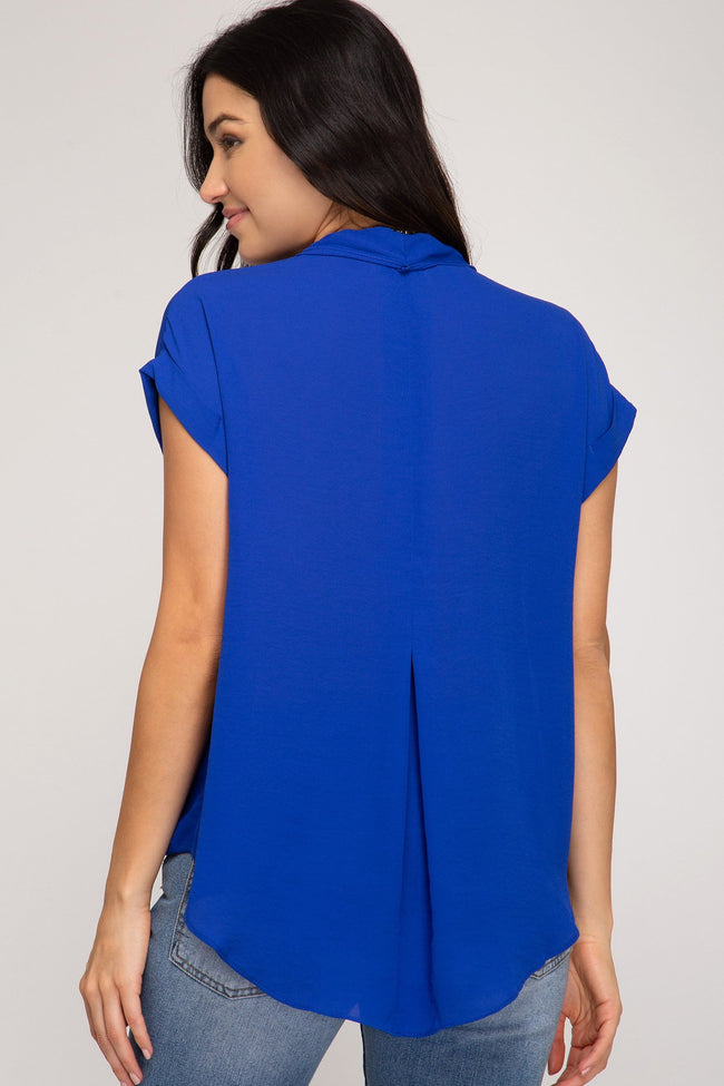 Royal Blue Front Twisted Woven Top