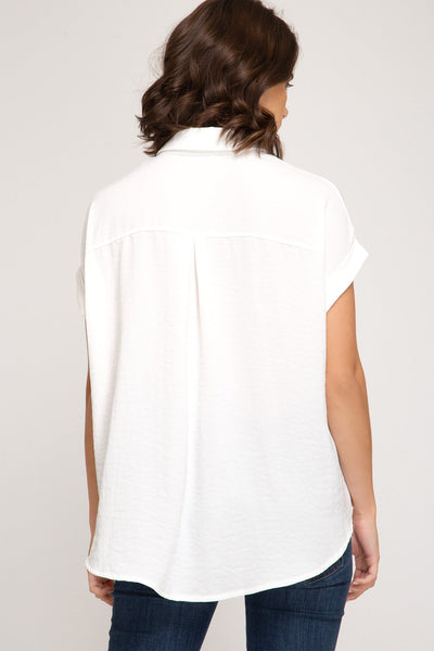 Off White Dolman Sleeve Top with front Twist Detail