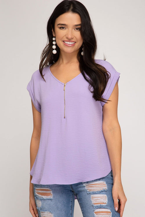 Lavender Woven Top With Front Zipper