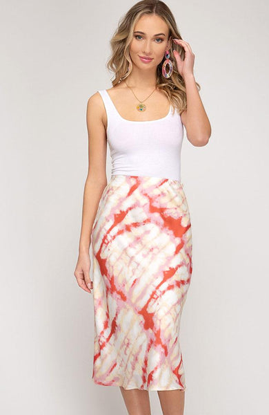 Red Tie-Dye Woven Midi Skirt - THE WEARHOUSE