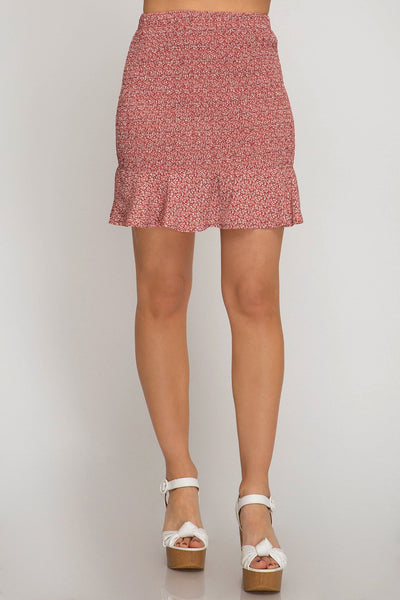 Red Printed Smocked Mini Skirt