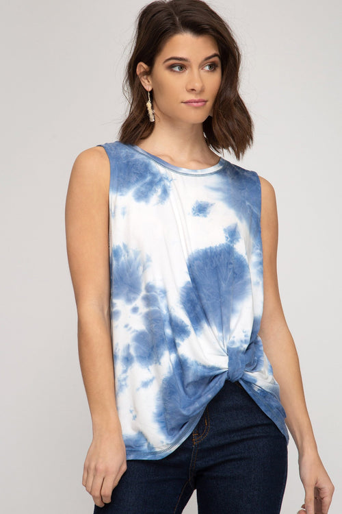 Blue and White Tie Dye Side Twist Top
