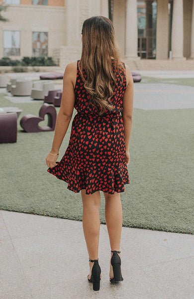 Black and Red Sleeveless Heart Dress