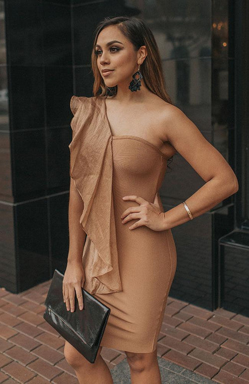 Copper Ruffle Dress