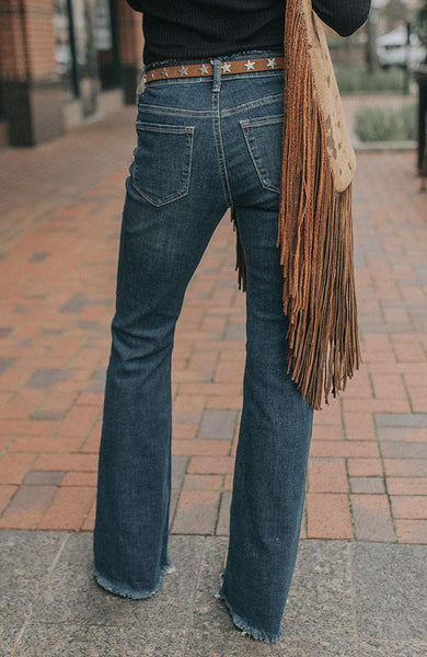 Donna Frayed Boot Cut Jeans