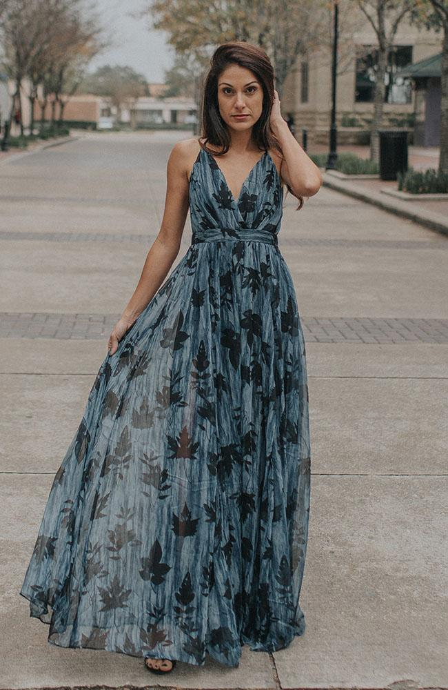 Blue and Black Leaf Maxi Dress
