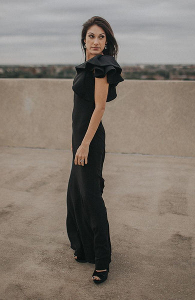 Black Shoulder Ruffle Gown