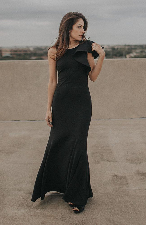 Black Shoulder Ruffle Gown - THE WEARHOUSE
