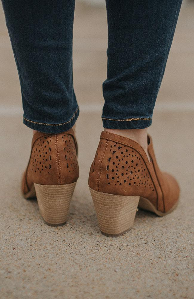 Tan Cutout Booties - THE WEARHOUSE