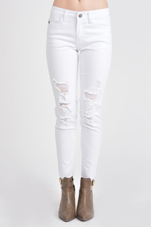 Ankle Cut Distressed White Denim Skinny Jeans - THE WEARHOUSE