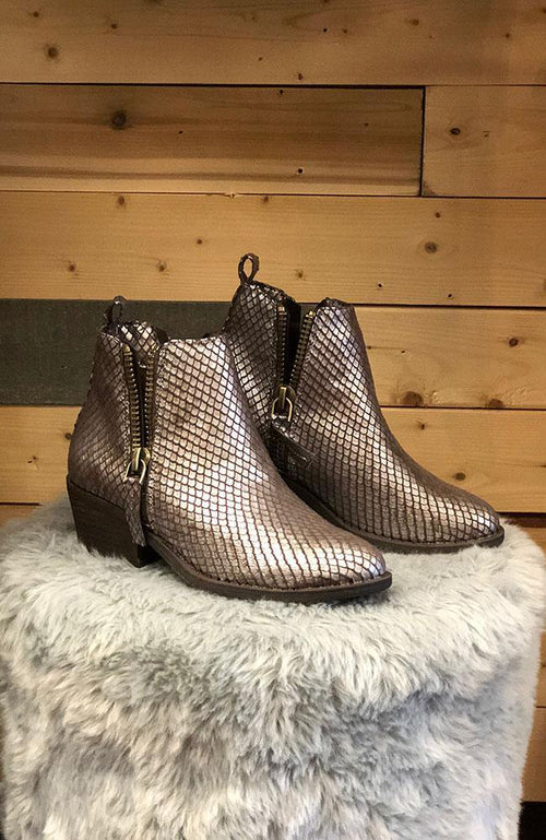 Silver Snakeskin Ankle Boots