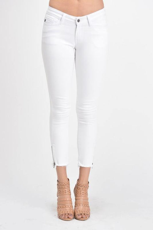 Cropped Fringe-hemmed White Denim Skinny Jeans - THE WEARHOUSE