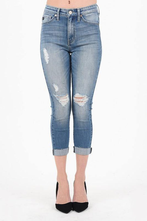 Medium Blue Washed Denim Capris - THE WEARHOUSE