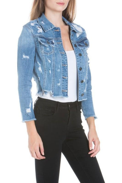 Light Denim Distressed Denim Jacket