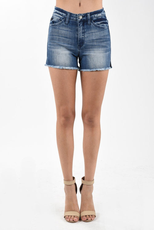 Ava Dark Wash Frayed Shorts