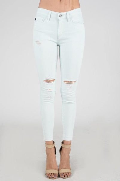 Mint Ankle Distressed Skinny Jeans - THE WEARHOUSE
