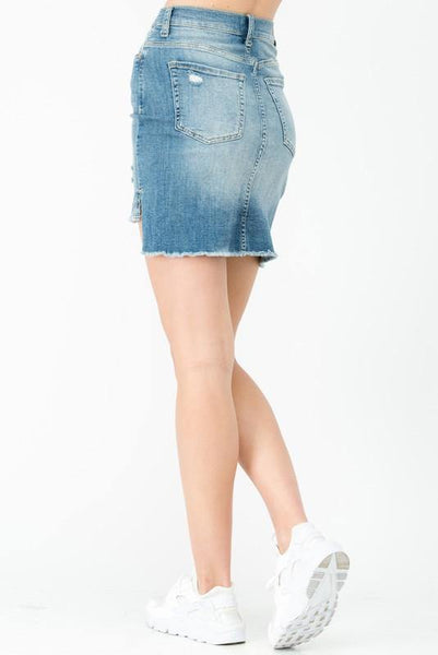 High Rise Unfinished Denim Skirt