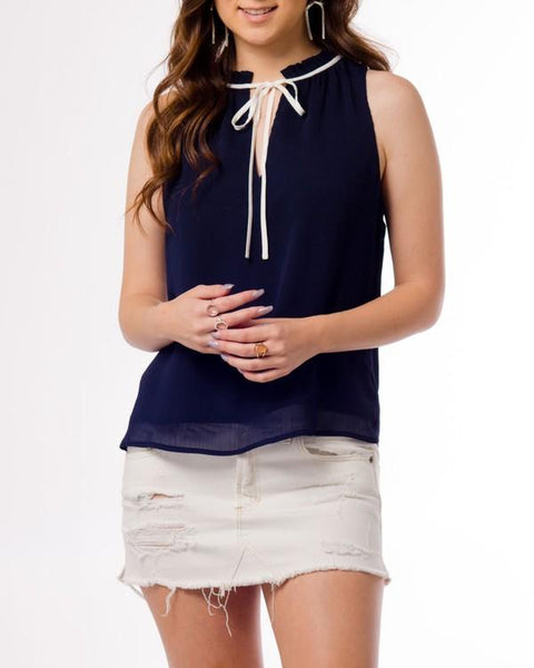 Modern Navy Top - THE WEARHOUSE