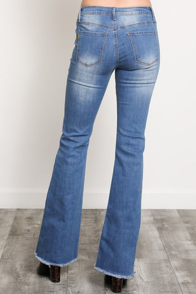 Denim Flare Frayed Bottom - THE WEARHOUSE