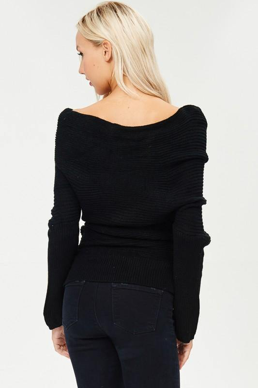 Black Long Sleeve Off Shoulder Ribbed Sweater - THE WEARHOUSE