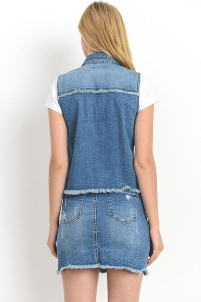 Bottom Raw Hem Denim Vest - THE WEARHOUSE