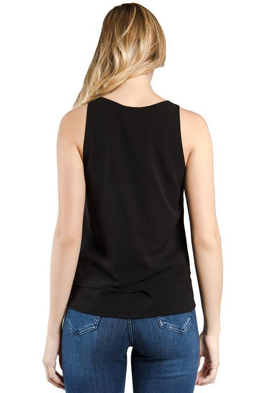 Black Layered Asymmetric Top - THE WEARHOUSE