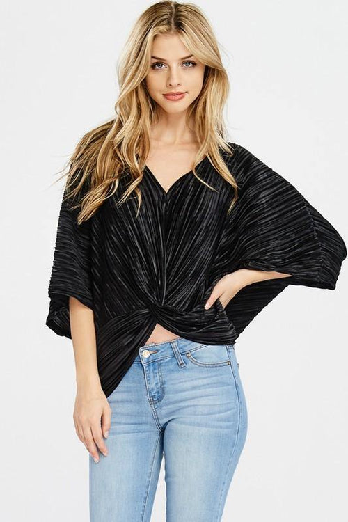 Black Pleated V-neck Twisted Front Drape Top