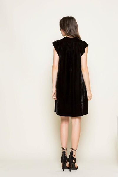 Black Embroidered Velvet Dress