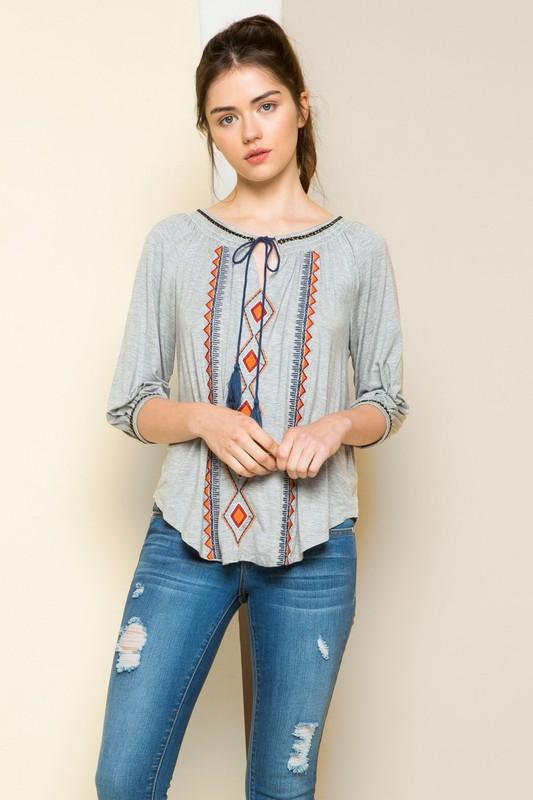 Grey Embroidered Knit Top