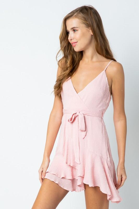 Rose Colored Short Wrap Dress