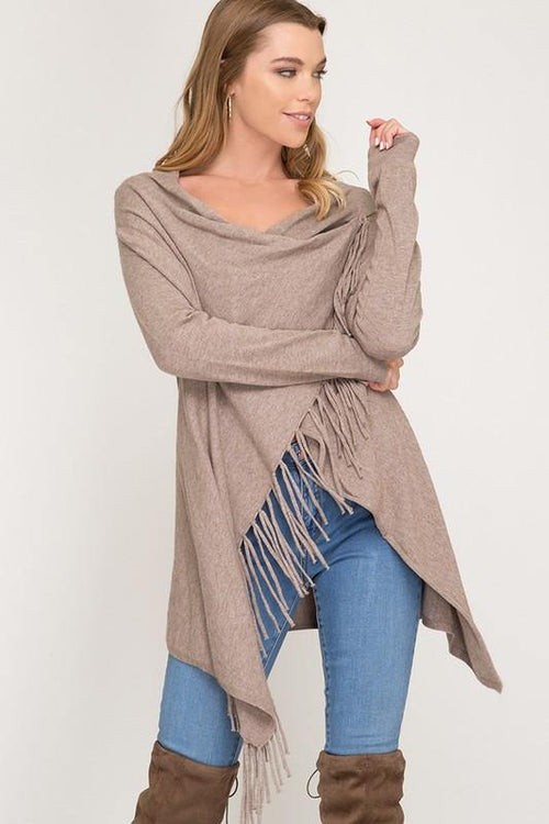Mocha Long Sleeve Sweater Cardigan