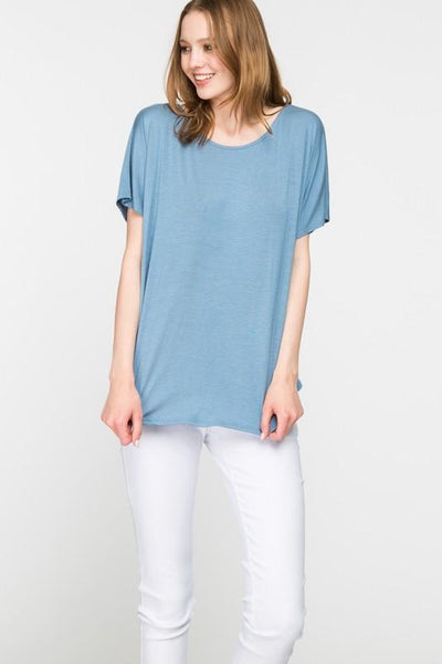 Blue Low Back Short Sleeve Top