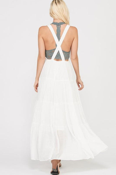 Ivory Sleeveless Tiered Skirt Maxi Dress - THE WEARHOUSE