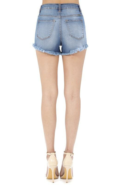 """The Jamie's"" High Rise Distressed Denim Shorts"