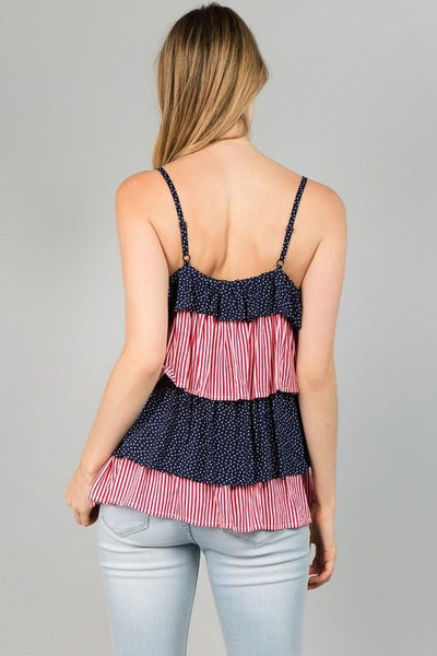 Red and Navy Striped and Star Tier Cami Top